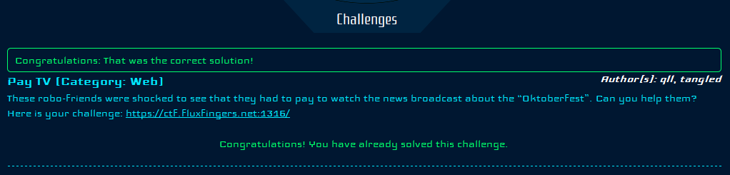 Pay TV challenge validation
